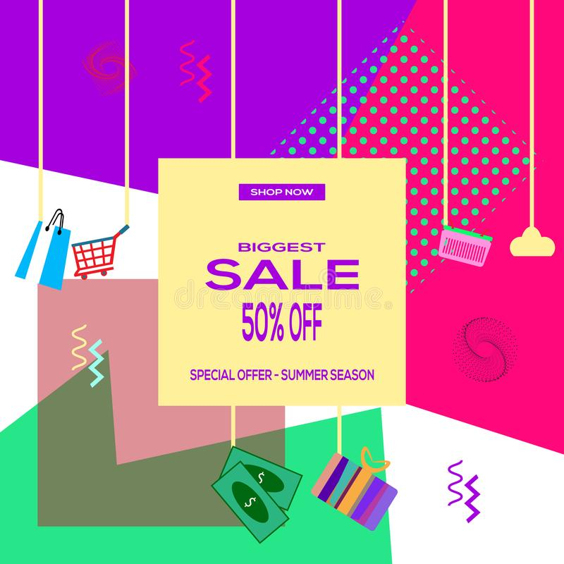 Biggest sale 50% off - special offer - summer season - shop now stock illustration