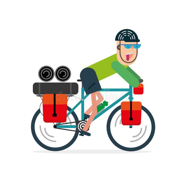 Vector illustration of bike with bikepacking bags. Flat style de royalty free stock images