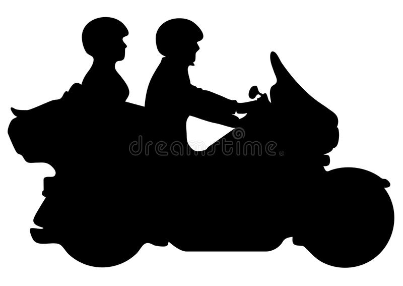 Couple Riding Motorcycle Silhouette Vector Illustration stock images