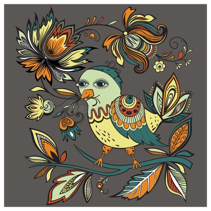 Vector illustration bird with flowers stock photos