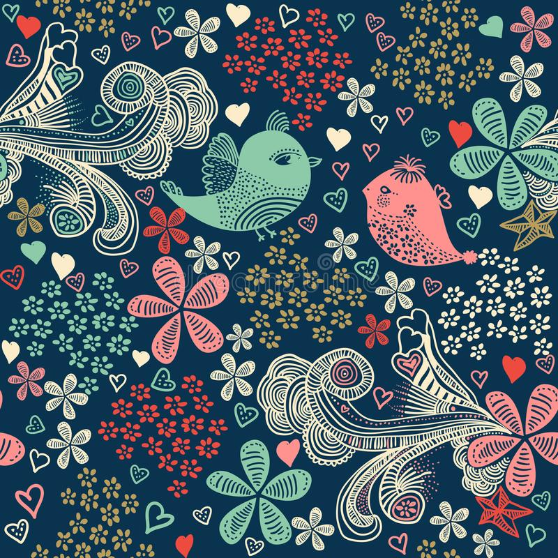Vector illustration with birds, flowers and hearts. vector illustration