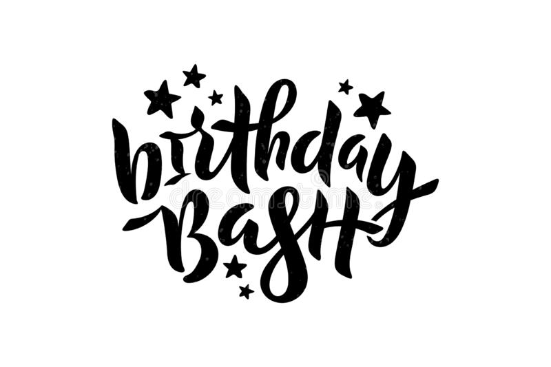 Vector illustration of Birthday Bash text with stars for card, invitation. Lettering for birthday party, poster, banner. stock illustration