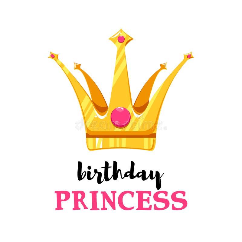 Birthday card with cartoon crown. Princess symbol vector illustration