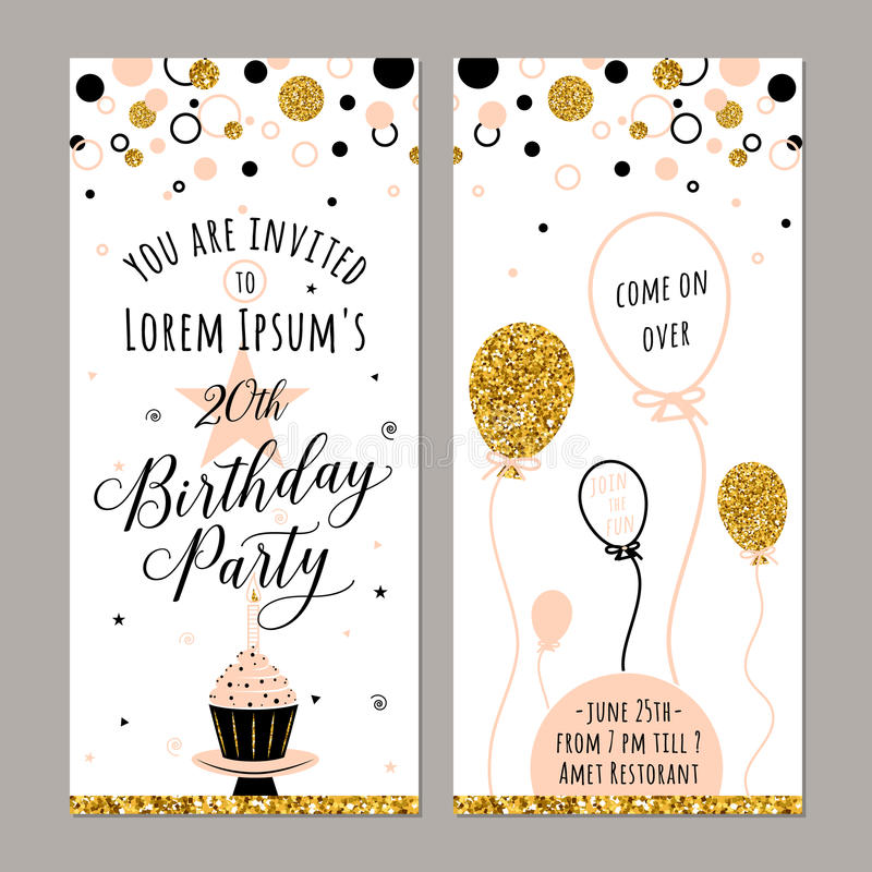 Vector illustration of birthday invitation. Face and back sides. Party background with cupcake, ballon and gold sparkles vector illustration