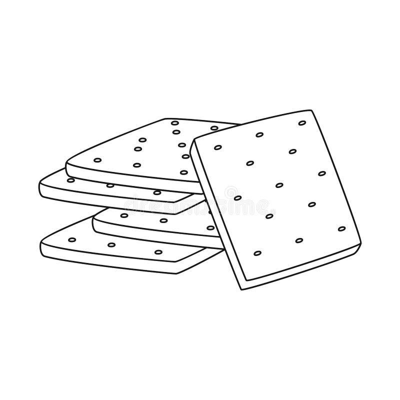 Vector illustration of biscuit and cracker sign. Set of biscuit and bread vector icon for stock. royalty free illustration