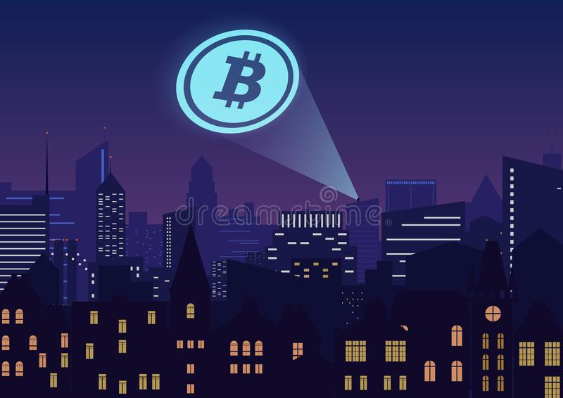 Vector illustration of bitcoin cryptocurrency projector in city at night. vector illustration