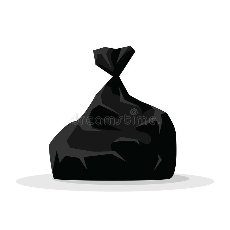 Vector illustration black bag with garbage isolated on white background. Packages big black plastic bags with wastes stock illustration