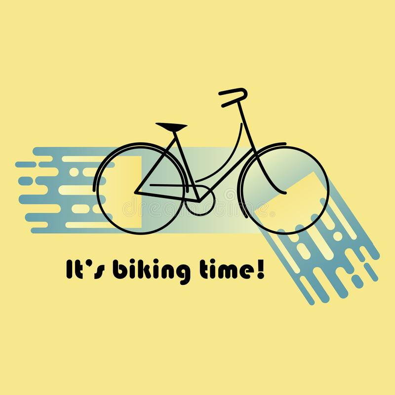 Vector illustration of black and blue moving fast female bicycle royalty free stock photos