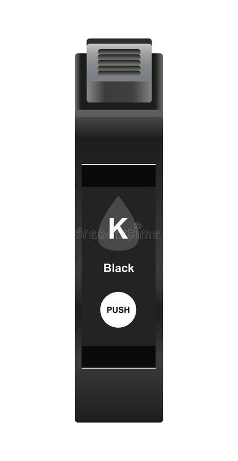 Vector illustration of black ink cartridge. Vector illustration of black or key ink cartridge for inkjet printer isolated on a white background vector illustration