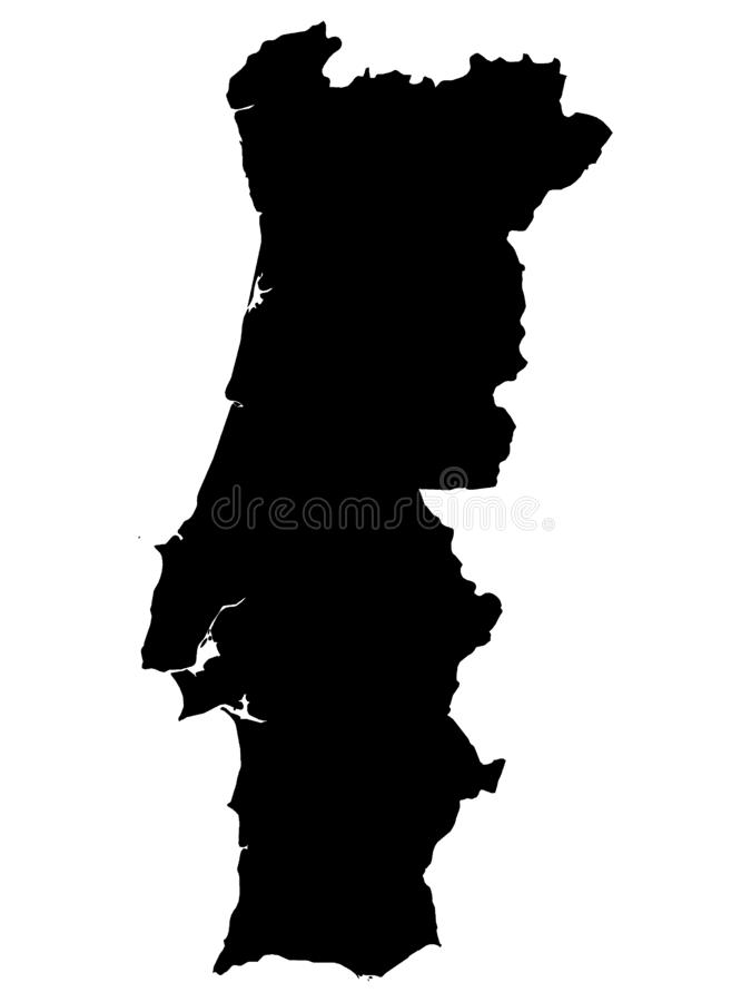 Black Map of Portugal on White Background. Vector Illustration of the Black Map of Portugal on White Background vector illustration