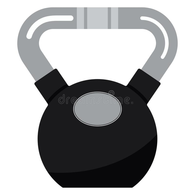 Vector illustration of black metal fitness kettlebell with chrome handle icon royalty free illustration