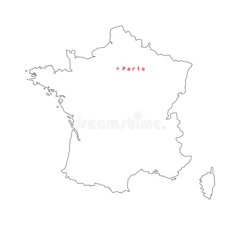 Vector illustration of black outline France map with capital city Paris. stock illustration