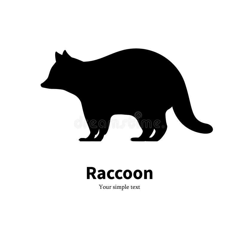 Vector illustration of a black raccoon silhouette stock illustration