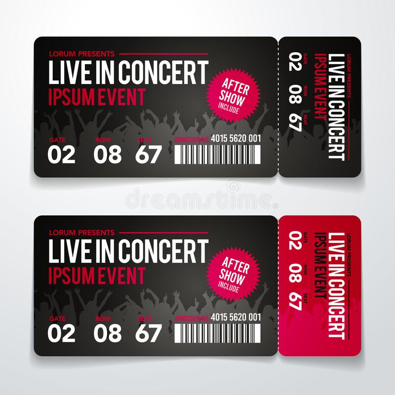 Vector illustration rock party festival ticket design template with cool grunge effects and place for text. Vector illustration black and red rock party festival royalty free illustration