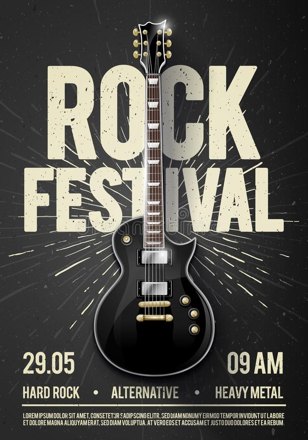 Vector illustration black rock festival concert party flyer or poster design template with guitar, place for text and cool effects. In the background stock illustration