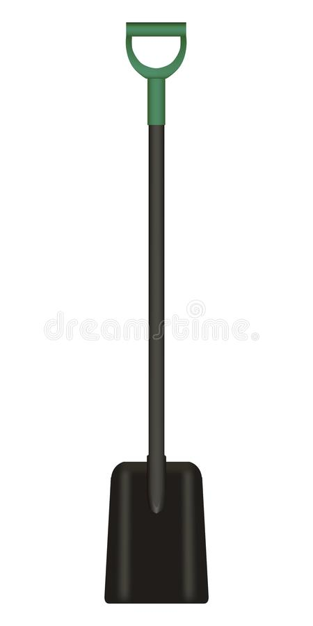 Vector illustration of black Shovel with green Handle stock image