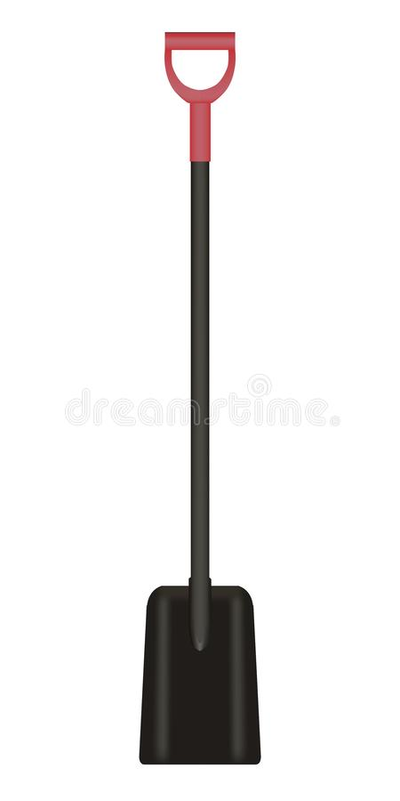 Vector illustration of black Shovel with red Handle stock images