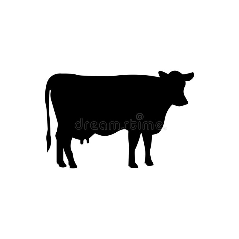Cow vector icon illustration isolated on black background vector illustration