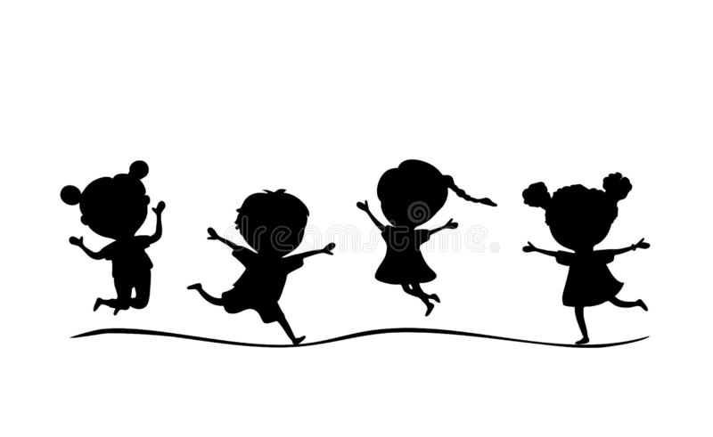 Vector illustration black silhouette kids running and jumping isolated on white background vector illustration