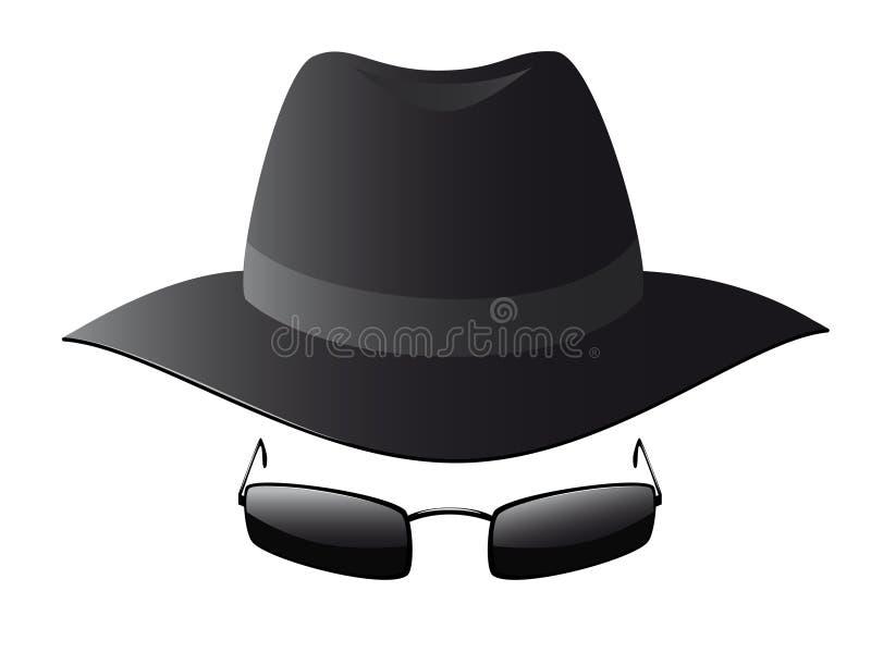 Vector illustration of black sun glasses and spy h vector illustration