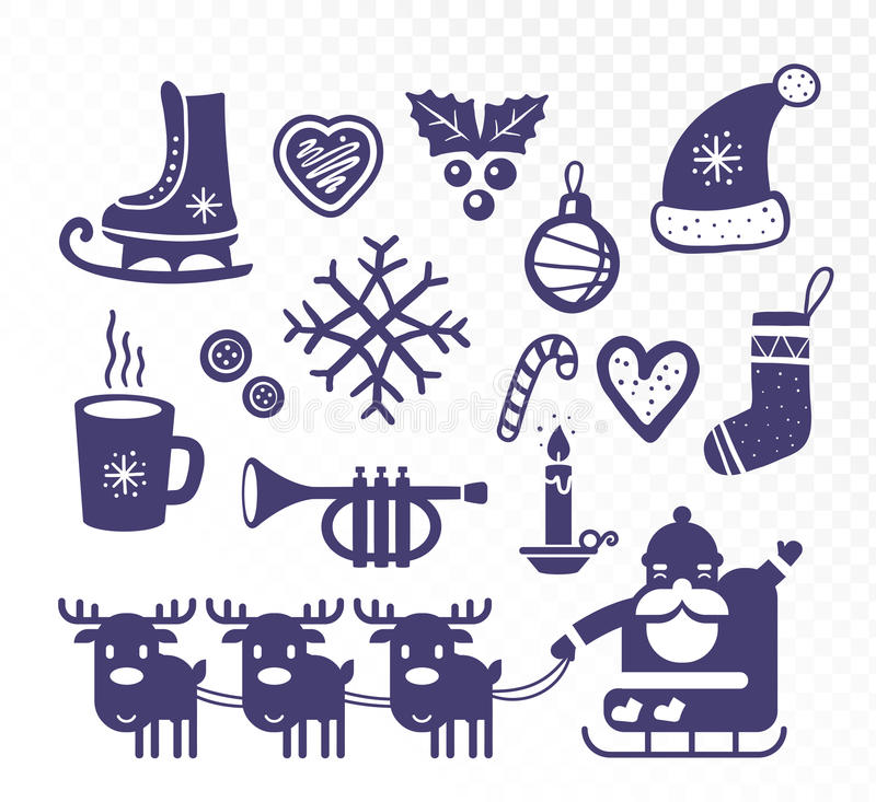 Vector illustration of black and white collection of christmas e stock illustration