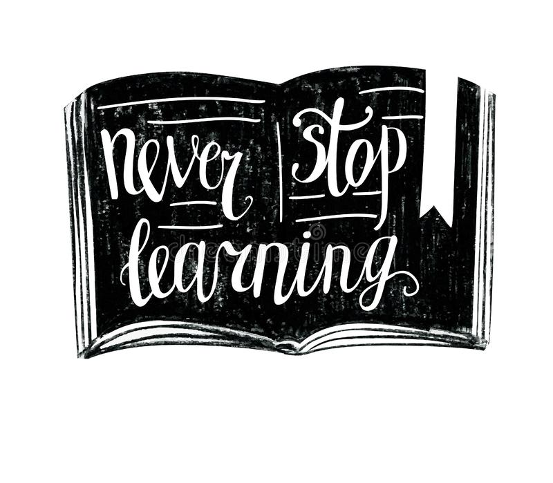 Never stop learning lettering with grunge texture royalty free illustration
