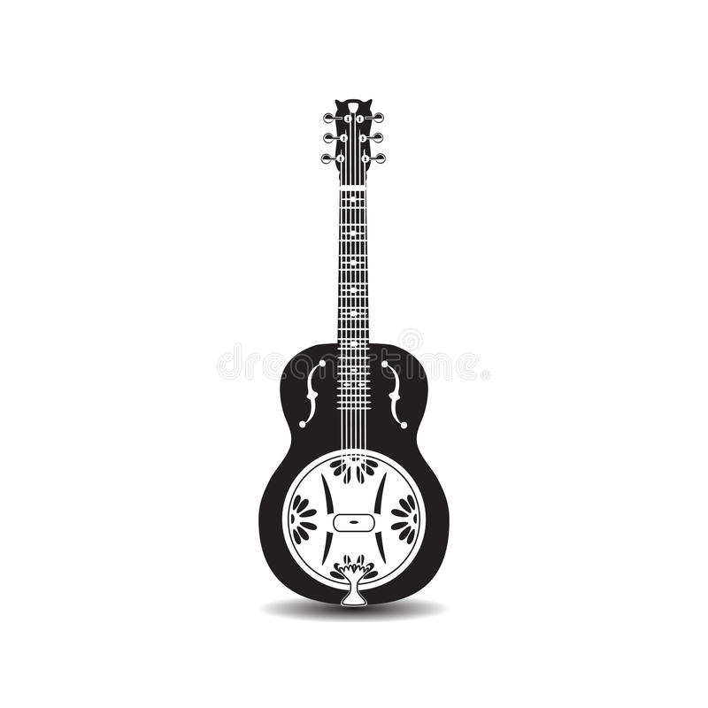 Vector illustration of black and white dobro, american resonator isolated on white background. royalty free stock image