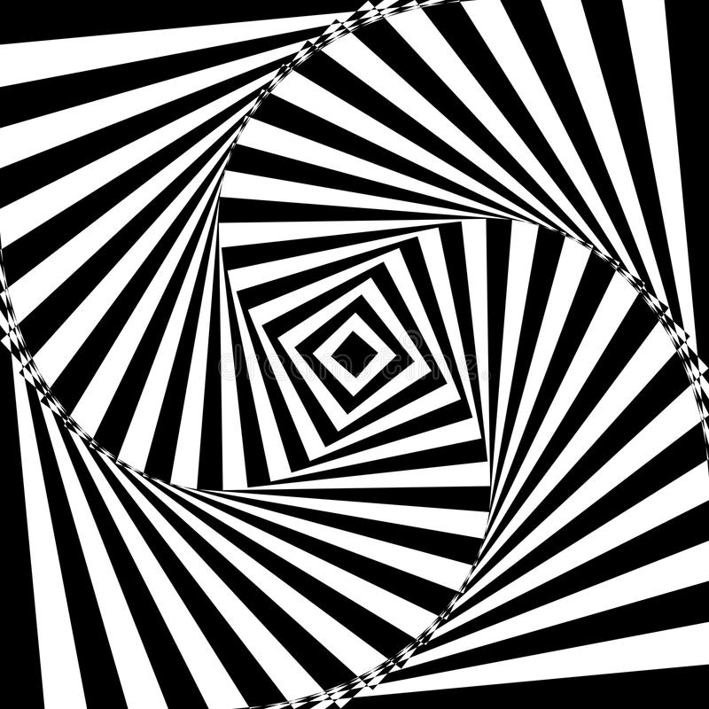Vector illustration of black and white geometric background of increasing and rotating square creates an optical vector illustration