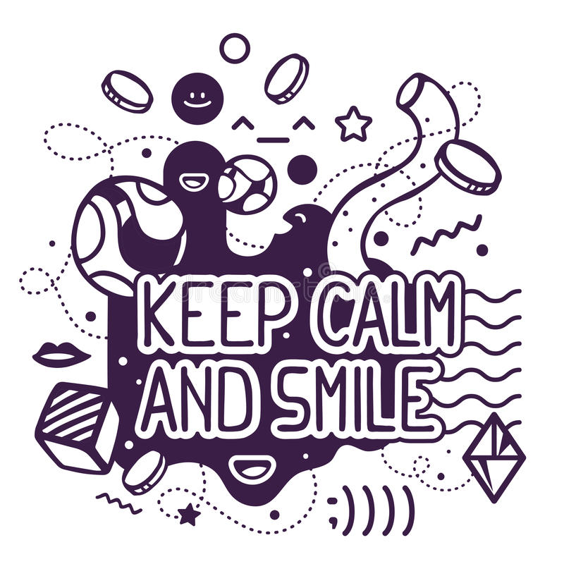 Keep Calm And Smile Quotes: Vector Illustration Of Black And White Keep Calm And Smile