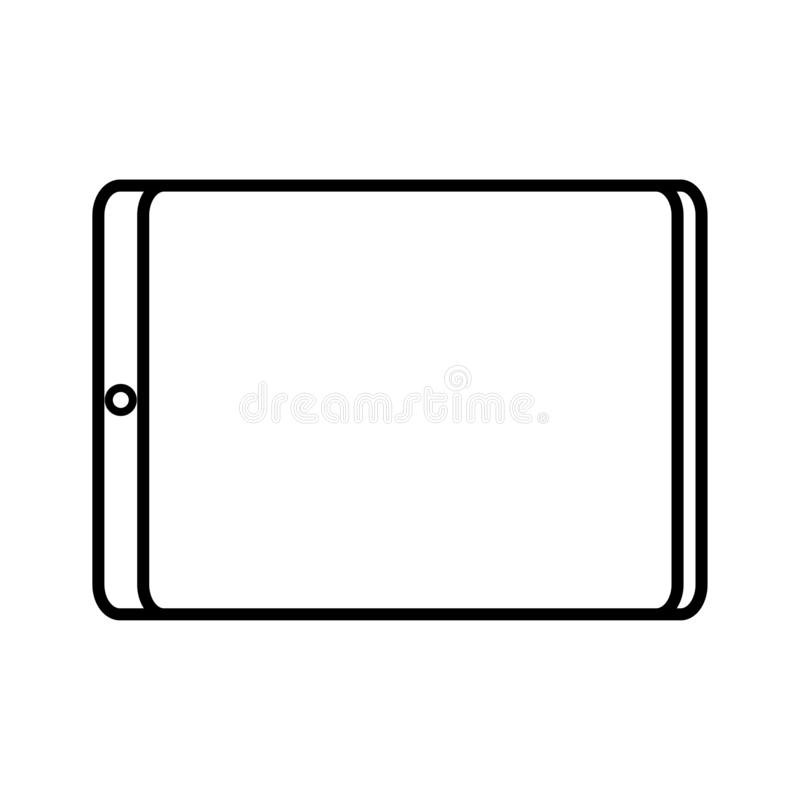Vector illustration of black and white modern digital digital smart rectangular tablet with icon isolated on white background. vector illustration