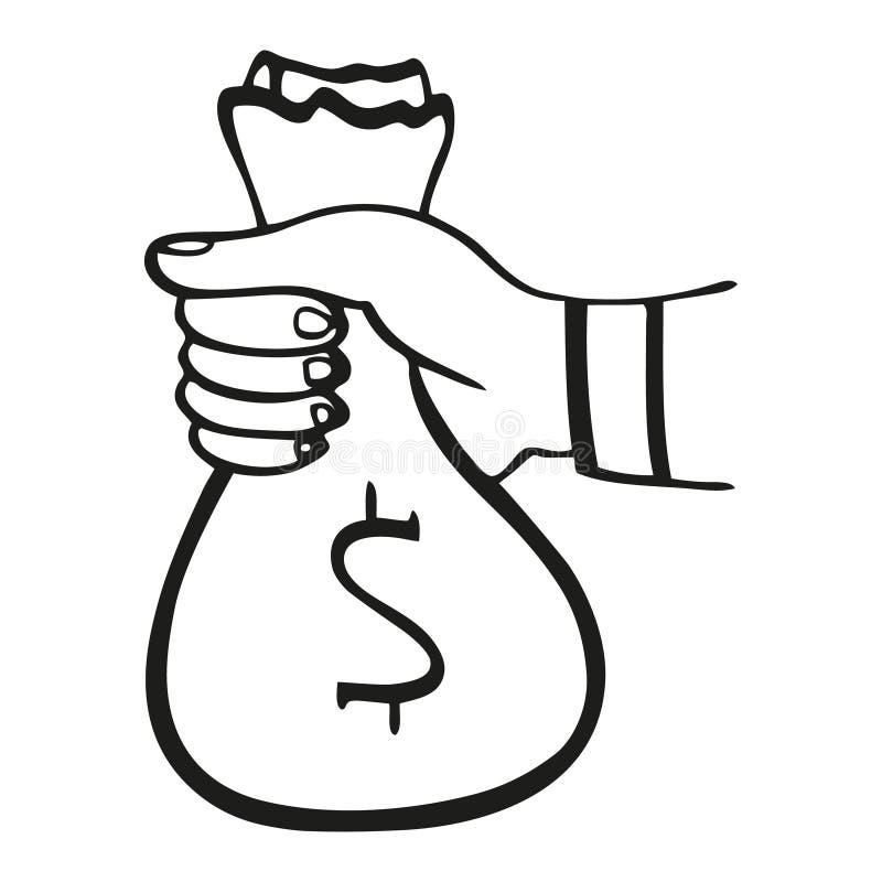 Vector illustration of black and white money bag stock image