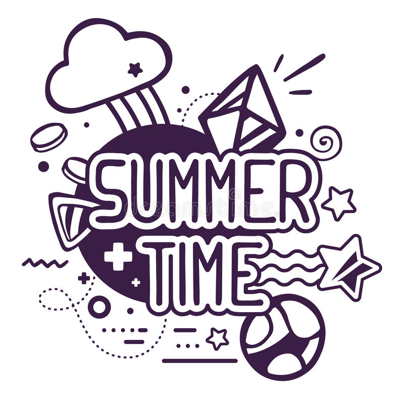 Vector illustration of black and white summer time quote. On abstract background. Hand draw line art design for web, site, advertising, banner, poster, board royalty free illustration