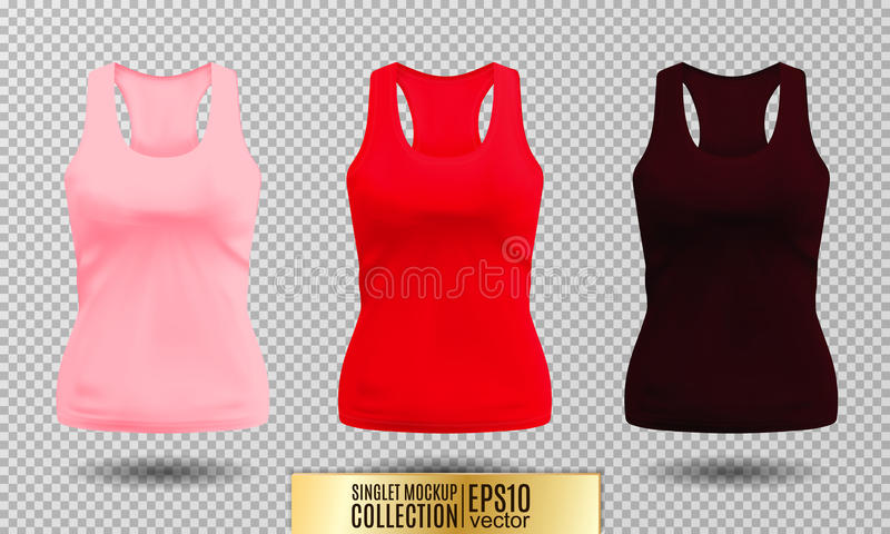 Vector illustration of black and white tank top or singlet. Pink red and vinous colors. Realistic vector objects stock illustration