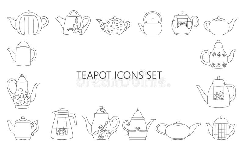 Vector illustration of black and white teapots vector illustration