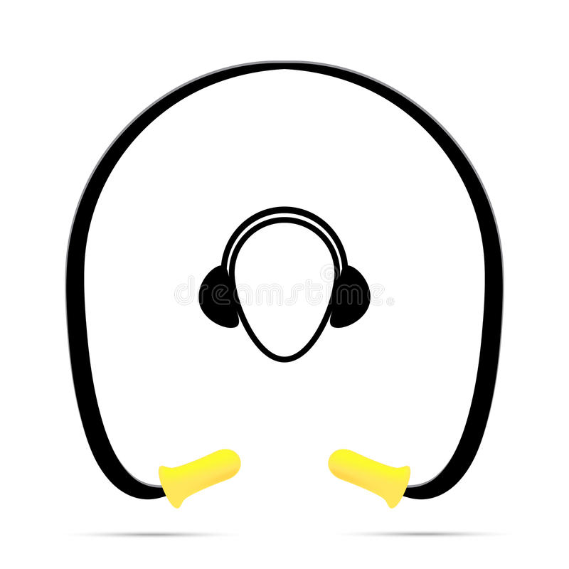 Vector illustration of black and yellow safety ear plugs royalty free stock photos