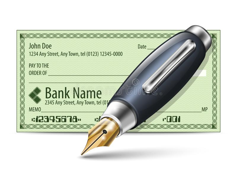 Vector illustration of blank bank check and fountain pen stock illustration