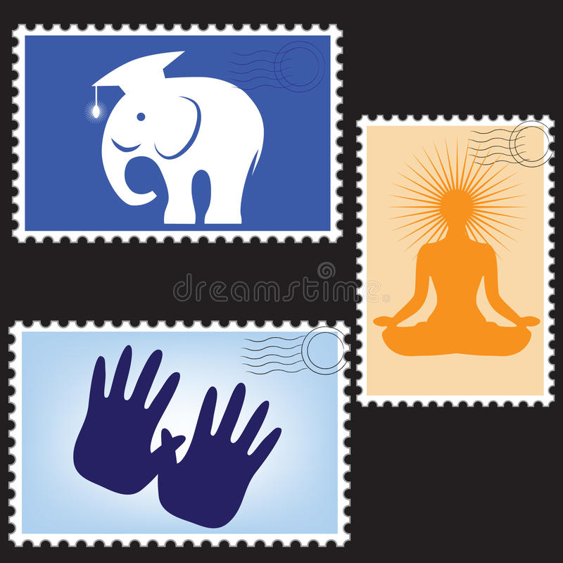 Vector illustration of a blanks post stamps. With elephant, hands and yoga royalty free illustration