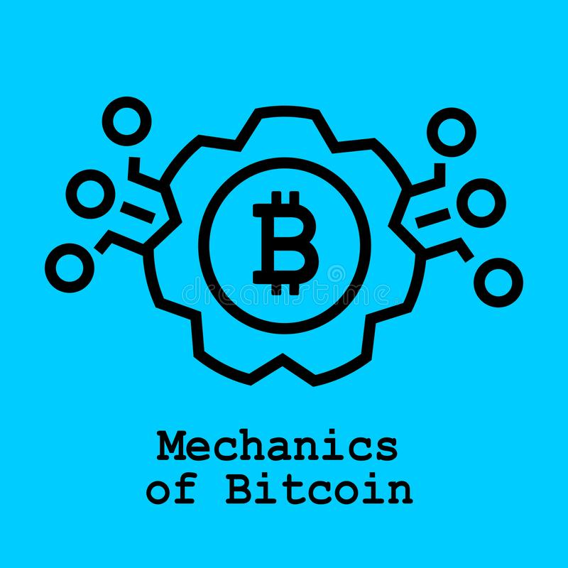 Mechanics of bitcoin flat icon. Vector Illustration. Block Chain Technology Concept vector illustration