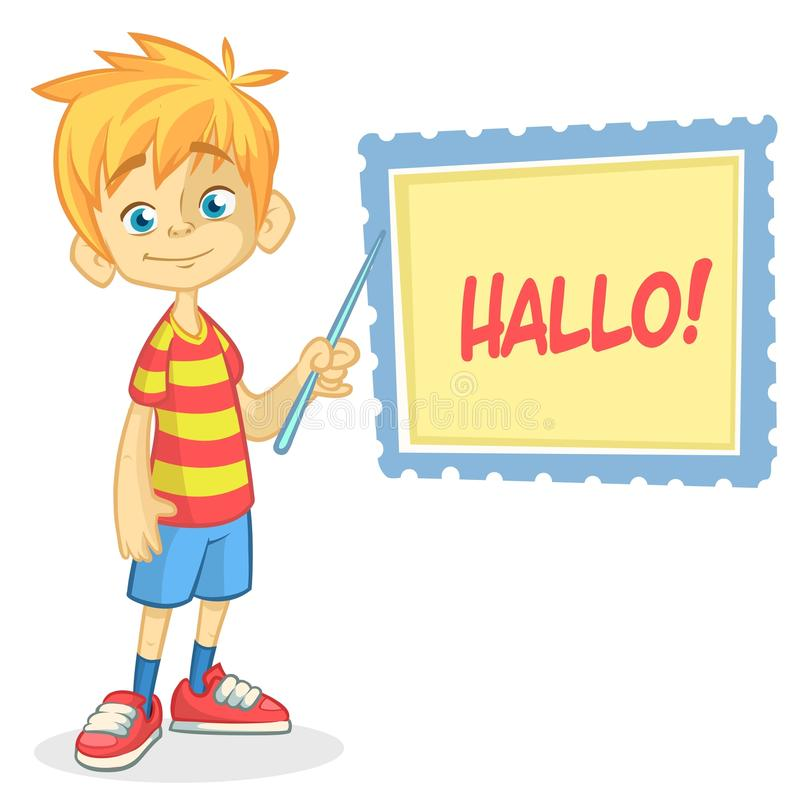 Vector illustration of blond boy in shorts and striped t-shirt. Cartoon of a young boy dressed up presenting. On a board with pointer royalty free illustration
