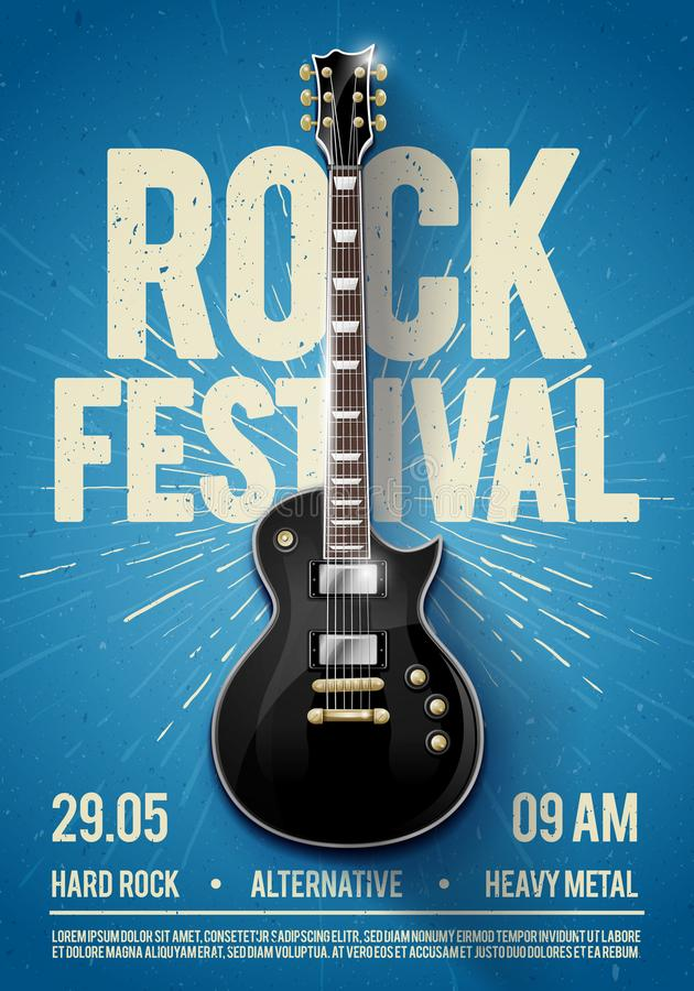 Vector illustration blue rock festival concert party flyer or poster design template with guitar, place for text and cool effects. In the background stock illustration