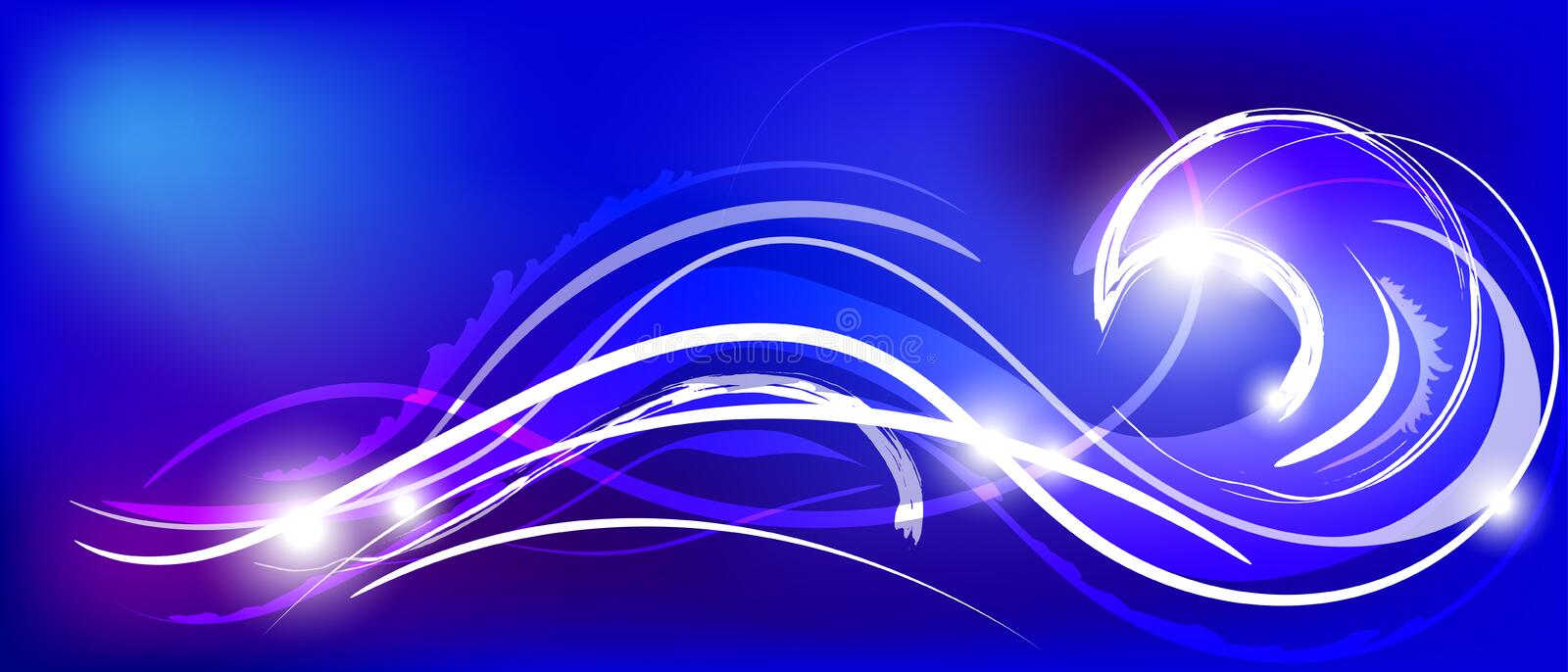 Vector illustration of blue abstract background with magic neon light curved lines. Vector illustration of blue abstract background with blurred magic neon light vector illustration