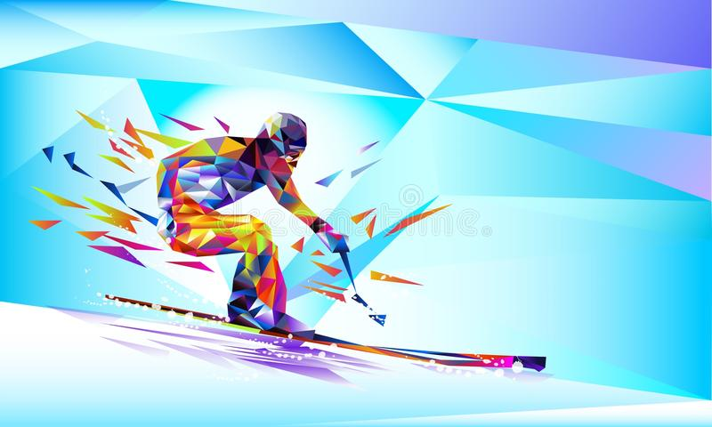 Vector illustration blue background in a geometric triangle of XXIII style Winter games. Olympic speedskater athlete speed skating stock illustration