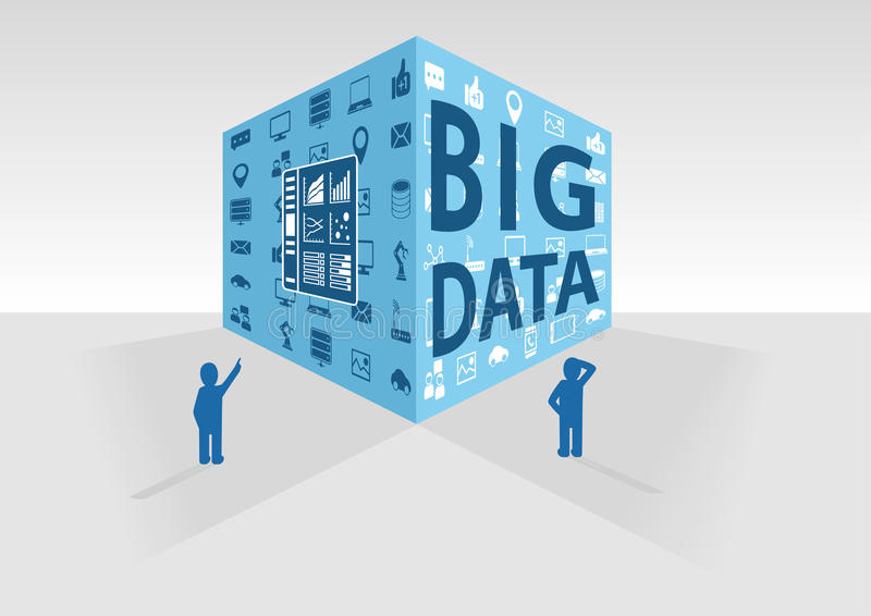 Vector illustration of blue big data cube on grey background. Two persons looking at big data and business intelligence data vector illustration