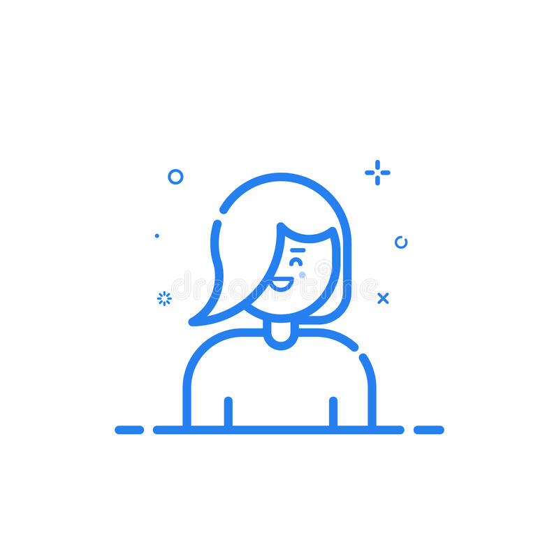 Vector illustration of blue icon in flat line style. Linear blue cute and happy girl. royalty free illustration
