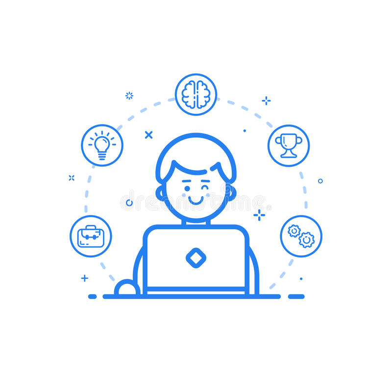 Vector illustration of blue icon in flat line style. Linear cute and happy man with laptop. stock illustration