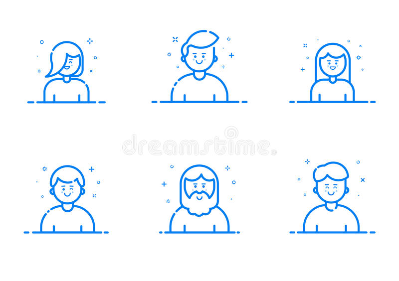 Vector illustration of blue icon set in flat line style. royalty free illustration