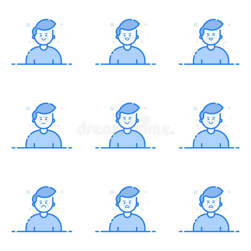 Vector illustration of blue icons in flat line style. Graphic design concept of Emoji and Avatar. royalty free illustration