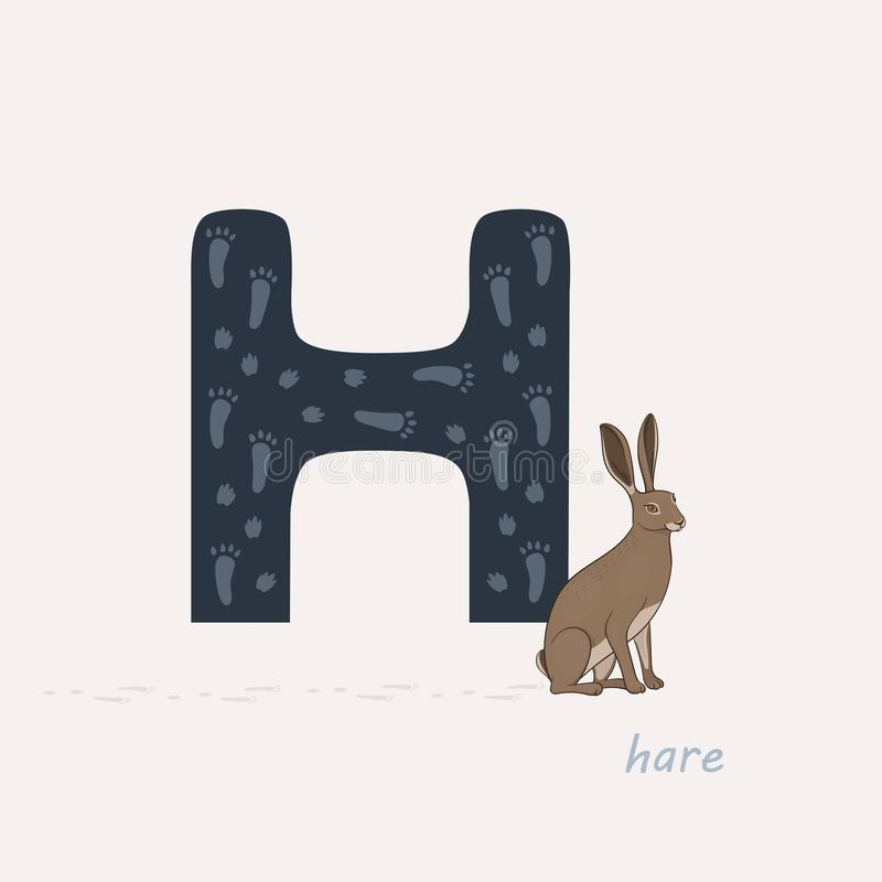 Vector illustration. Blue letter H with hares footprints, a cartoon hare. Animal alphabet. vector illustration