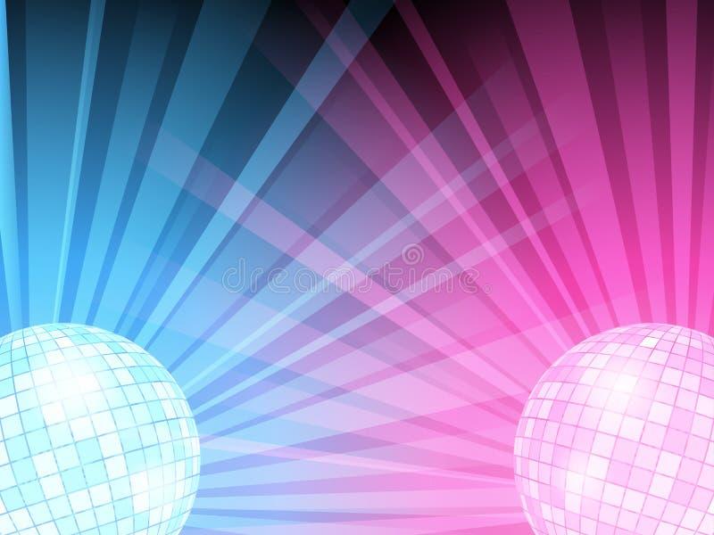 Vector illustration of blue and pink disco balls stock illustration