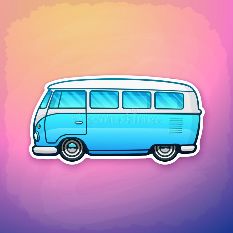 Sticker of blue toy hippie van on colorful background vector illustration